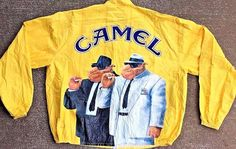 Vintage 1990s Camel Cigarettes Yellow Tyvek Windbreaker Jacket Size XL RARE…