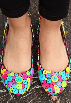 These shoes are as cute as a button! Check out this tutorial for dressing up your flats with colorful buttons!