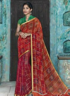 Maroon casual wear bandhni style saree in georgette