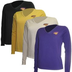 Oxford America women's thin black, gold, white, or purple v-neck sweaters with UNI logo in purple and gold on left chest. $64.99