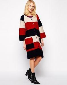 Ivana Helsinki Knitted Oversized Coat With Belt Detail - Red/ navy/ cream