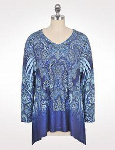 Plus Size Blue Paisley V-Neck Top