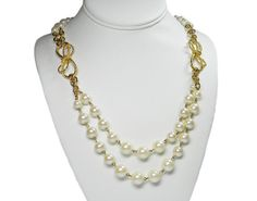 Long Pearl and Bow Necklace Double Strand Chains by VogueVille