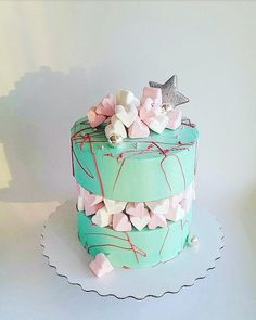 fault line cake Cupcakes, Cupcake Cakes, Beautiful Birthday Cakes, Birthday Cakes For Women, Cake Designs For Kids, Burgundy Wedding Cake, Cake Decorating For Beginners, Geode Cake, Candy Cakes