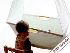 Fabric Hanging Cradle Tutorial in a style of Bludor, with photo instructions and patterns for it. For Hanging Cradle eeverything is simple with a li Hanging Cradle, Hanging Crib, Hanging Fabric, Diy Hanging, Diy Computer Desk, Baby Sewing, Fabric Sewing, Sewing Patterns Girls, Kid Spaces