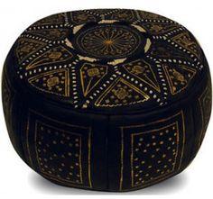 Marokkaanse Poef Zwart/Goud