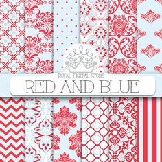 """Red and Blue digital paper: """"RED AND BLUE"""" with red and blue party patterns, red and blue, aqua damask for scrapbooking, cards, invitations #red #blue #damask #planner #partysupplies #scrapbookpaper #digitalpaper"""