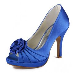 Satin Upper Peep Toe Stiletto Heel Wedding Bridal Shoes With Flower(More Colors Available) - Wedding Shoes