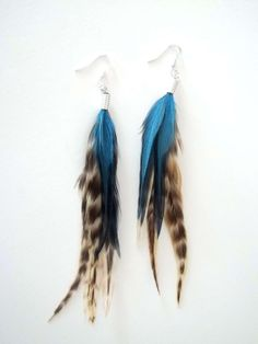 Teal Waters Short Tribal Natural Feather Earrings by LonelyCoyote, $12.00