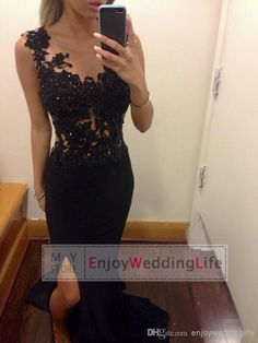 Discount 2014 Sexy Black Lace Prom Dresses Appliques Beaded Sheer Crew Neck Sleeveless Sweep Train Mermaid Formal Party Split Evening Gowns BO6091 Online with $115.92/Piece | DHgate