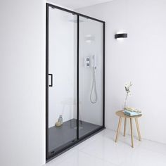 Make a statement with the Milano Nero sliding shower door. Combine with a slate effect shower tray for a bold and dramatic bathroom look! Sliding Bathroom Doors, Sliding Door Design, Shower Doors, Sliding Doors, Shower Sliding Glass Door, Bathroom Shop, Big Bathrooms, Luxury Bathrooms, Bathroom Ideas