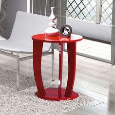 Mesa Lateral Redonda Imaza Móveis Rosa Vermelha produzida em madeira MDF com pintura UV. Descrição do Tamanho 64x53x53cm