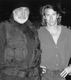 """Sean Connery with director Michael Bay on the set of """"The Rock"""" (1996). This film was nominated for an Oscar in the Best Sound category, but it lost the award to """"The English Patient""""."""