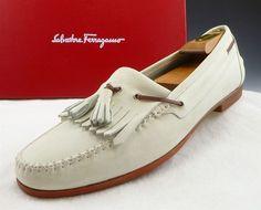 Ferragamo sz 12 Nubuck Leather Kiltie & Tassel Loafer 6622 Mens Ivory fit US 12  #Ferragamo #LoafersSlipOns #distinctivedeals