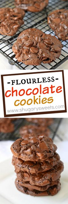 ***Flourless Chocolate Cookies ~ are a chewy cookie with a crunchy topping! You'll love the rich chocolate flavor in a unique cookie! Move over Starbucks, we've got a copycat recipe on our hands! Delicious Cookie Recipes, Easy Cookie Recipes, Best Dessert Recipes, Yummy Cookies, Fun Desserts, Sweet Recipes, Veggie Recipes, Baking Recipes, Yummy Food
