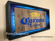 CORONA Beer Light Up Sign Hand made Sign out of reclaimed wood Black display outer with oak barrel style inner All come with built in multi color LED lights lights battery operated with remote Measurements L: W: H: Modern Rustic Decor, Rustic Lamps, Rustic Lighting, Rustic Signs, Rustic Chandelier, Rustic Theme, Rustic Cafe, Rustic Logo, Rustic Restaurant