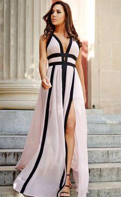 $43.99 Blush Halter Slit Maxi Dress