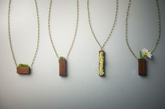 MOSS AND PLANT NECKLACES - The Redwood Series (designed with sustainably harvested wood, real dried and preserved grass, non-toxic water based glue, a water based wood stain, and organic extra virgin coconut oil as a final finish)