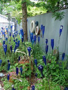 ** Bottle Tree Garden Art Made Using Recycled Glass Bottles  @texastomexico
