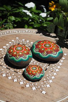 Three Hand Painted River Stones- Sunshine Trio- Red-Gold and Green Love Stones