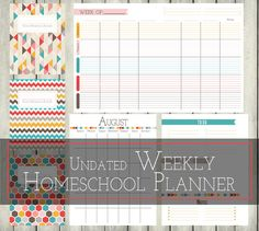 """8.5"""" x 11"""" Weekly Homeschool Planner  Homeschooling mamas, this is for YOU! Easily print and put in a binder or have it bound at a printing shop of your choice. This planner includes: -3 Cover Designs -Weekly -Daily To-Do list -Notes Section -Monthly Calendars -Long Term To-do list, To make list, & Notes page -29 pages total (weekly page is included six times, long term to do page is included twice).  This is a digital product. No physical planner will be sent to you. Because of the natur..."""