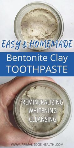 Homemade Bentonite Clay Toothpaste Recipe has a smooth, creamy texture that is gentle on gums. Custom ingredients help effectively remineralize, whiten, and clean teeth. A Bentonite Clay Toothpaste Recipe that is easy and quick, giving the whole fa Bentonite Clay Toothpaste, Calcium Bentonite Clay, Natural Toothpaste, Bentonite Clay Benefits, Toothpaste Recipe, Homemade Toothpaste, Homemade Deodorant, Homemade Facials, Homemade Products