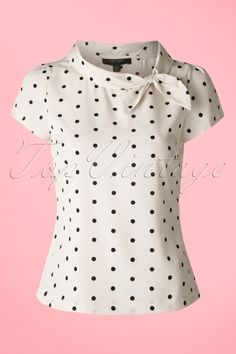 You're totally summer proof with this Garland Polkadot Top! Most striking is the adorable shawl collar with bow detailing, so cute! Made from a supple, breezy, cream coloured fabric with black polkadots for a lovely fit. Any outfit will become a stun Retro Outfits, Vintage Style Outfits, Casual Outfits, Vintage Fashion, Cute Outfits, Casual Clothes, Dress Casual, Retro Fashion, Blouse Styles