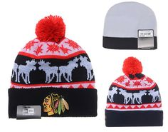 various colors abddb 6f2ff NHL Chicago Blackhawks Knit Beanies Hats New Era Red Black 087 only US 8.90