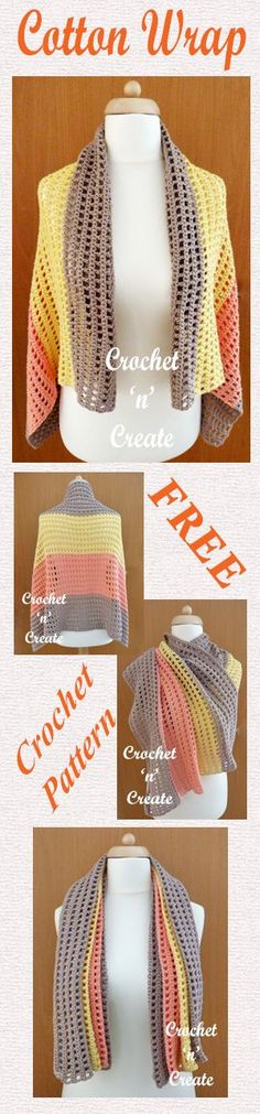 An easy rectangular large soft cotton wrap for you to crochet, made with just two stitches. Shawls are much more versatile and lighter to carry ............