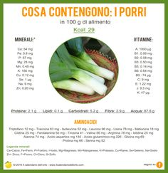 Cosa contengono i porri In Natura, Keto Nutrition, Juice Plus, Sprouts, Natural Remedies, Health Tips, Healthy Lifestyle, Protein, Healthy Recipes