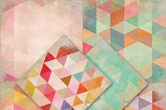 Shabby Worn Triangle Digital Papers by Creativeqube Design on Creative Market