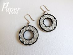 black white earrings, paper quilling jewelry, black hoop earrings, lightweight earrings, quilled earrings