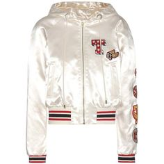 Tommy Hilfiger Satin Bomber Jacket With Appliqué ($550) ❤ liked on Polyvore featuring outerwear, jackets, white, blouson jacket, satin jackets, white jacket, flight jackets and bomber jackets
