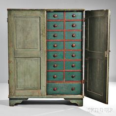 Light Green/Blue-painted Apothecary Cupboard | Sale Number 2855B, Lot Number 180A | Skinner Auctioneers