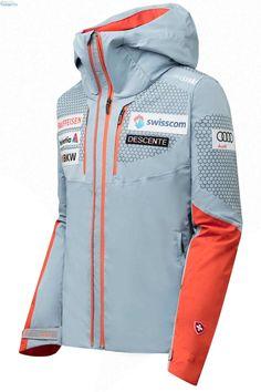 Descente Swiss Team Ski Jacket Ski Suisse, Sponsor Logo, Mens Ski Wear, Swiss Ski, Team Jackets, Ski Racing, Ski Gear, Snow Skiing, Motorcycle Jacket