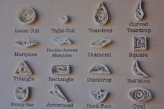 All the basic shapes you need to know to get started on quilling. Quilling Jewelry, Arte Quilling, Quilling Paper Craft, Jewelry Crafts, Paper Crafts, Quilling Images, Paper Quilling Designs, Quilling Ideas, Paper Quilling For Beginners
