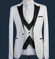 Males Go well with Formal Skinny Wedding ceremony Blazer Promenade Light Groom Customized Jacket three Items Tuxedo For Men, Groom Tuxedo, White Tuxedo, Wedding Dress Men, Wedding Suits, Cool Outfits For Men, Moda Formal, Designer Suits For Men, Formal Suits