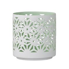 Cut-out large votive made of fine delicate porcelain. White Lanterns, Home Living, White Porcelain, Flower Pots, Candle Holders, Delicate, Mint, Candles, Home Decor