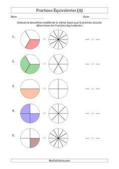 La fiche d'exercices de maths « Fractions Équivalentes à l'Aide des Modèles et Avec une Fraction Simplifiée en Premier (A) » de la page des Fiches d'Exercices sur les Fractions.