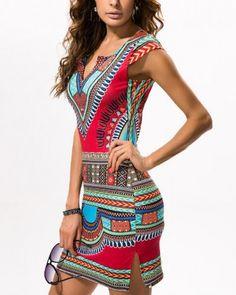 a529c7e6491 Dashiki pencil dress for women African pattern deep V neck dress slim fit