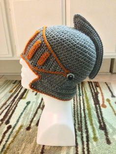 Crochet Handmade Knight Helmet Beanie Hat  by MachsCreativeCrochet