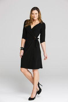 Y 3/4 Sleeve Cross Over Dress - Womens Knee Length Dresses at Birdsnest