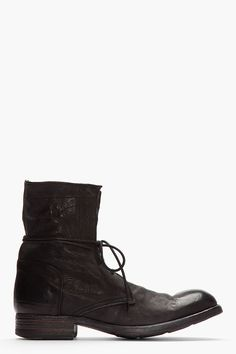 OFFICINE CREATIVE //  Black Buffed Leather Cavallo Wash Boots  32346M047001  High-top leather boots in black with buffed finish. Round toe. Black lace up closure. Paneled upper. Polished toe and heel counter. Tonal stitching. Leather upper, leather sole. Made in Italy.  $755 CAD