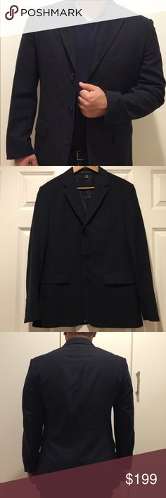 Club Monaco Men's Wool Jacket, Blazer Club Monaco Men's Wool Jacket, Blazer.  Wear alone for any occasion, with jeans or paired with matching trouser! Beautiful as a gift!   Authentic, modern tailored fit Club Monaco  Navy color with pin stripes 40R 55% polyester, 45% Wool Notched lapel; three-button silhouette Welt pocket left chest; hip flap pockets, four cuff buttons, sleeves can be tailored; dual back vent Extremely well crafted and Lined Welt pockets at interior chest; underarm sweat…