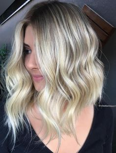 Wavy Blonde Balayage Lob