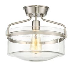 """Features:  -Intriguing curved arm.  -Number of lights: 1.  Product Type: -Semi flush mount.  Number of Lights: -1.  Bulb Type: -Incandescent.  Wattage: -100 Watts. Dimensions:  -Canopy is 5.25"""" in dia"""