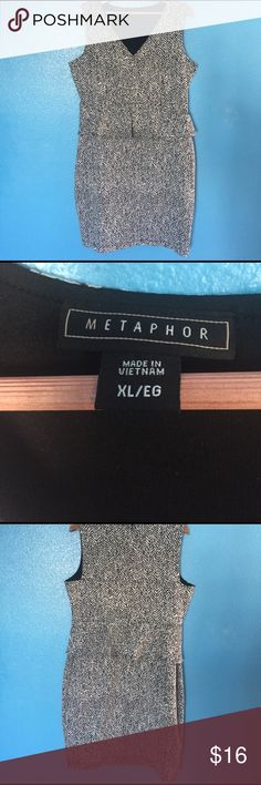 Metaphor XL peplum dress This XL  Metaphore peplum dress has an attractive black and white planner and extra black fabric liner. There is some stretch to this fabric. Perfect with heels, or boots this dress could layer for work and be perfect for a night out! Laid flat the measurements are approximately: Armpit to armpit is 22 inches, under chest is 18 inches, hips are 21 inches (22 with a little stretch) and 41 inches top to hem.  Gently used and from a smoke free home. Metaphor Dresses…
