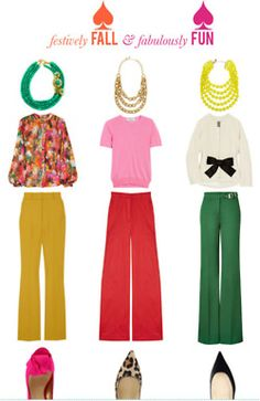 Business casual.  The green pants outfit...add the leopards in and ur set.  The more I see it, the more I like the pink'n red too.