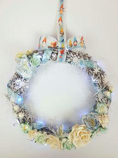 Altered Art, Hanukkah, Christmas Crafts, Mixed Media, Floral Wreath, Ribbon, Wreaths, Home Decor, Tape