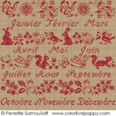 <b>Calendrier sampler rouge</b><br>grille point de croix<br>création <b>Perrette Samouiloff</b>